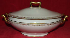 LARGE ANTIQUE THEODORE HAVILAND LIMOGES GOLD GILT COVERED CASSEROLE DISH TUREEN