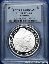 2010 United Kingdom Britannia Silver Proof £2 Two Pound Coin Graded - PCGS PR69