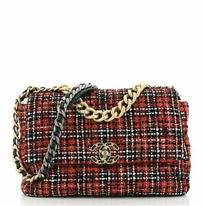Chanel 19 Flap Bag Quilted Tweed Large