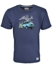 Herren T-Shirt VW Bulli Kult Fashion Print »LETS ROCK« Surfer-Shirt Blau