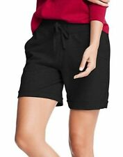 4ed2822c6462 2 Hanes Women s French Terry Bermuda Pocket Shorts O4681 XL Black