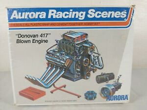 1973 Aurora Racing Scenes Donovan 417 Blown Engine 1:16 Model Kit # 843
