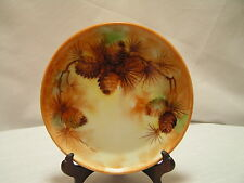 """Antique Rosenthal Selb Bavaria Donatello Hand Painted Pine Cone Plate c.1905 7""""D"""