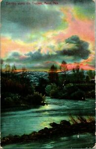 Vtg Postcard 1909 Evening Along the Truckee River Reno Nevada PNC Quality Series