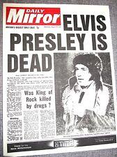1977 ELVIS PRESLEY Vintage Newspaper King of Rock n Roll Dies Pop Music Legend