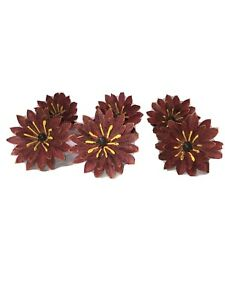 Vintage Pier 1 Imports pink yellow Metal Floral daisy Napkin ring Holder lot 6