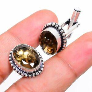 Smoky Topaz Gemstone 925 Silver Handmade Cufflinks Stnd. RP-354