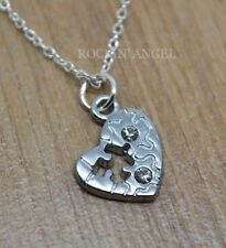 925 Silver Necklace Autism Puzzle Heart Awareness Pendant & Crystals Ladies Gift