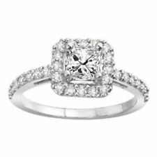 925 Sterling Silver Ring CZ Princess Cut Engagement Wedding Halo Size 4 New r54