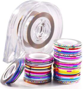 30 Colour Rolls Nail Art Lace Tape Line Strips False Nails Decoration Stickers
