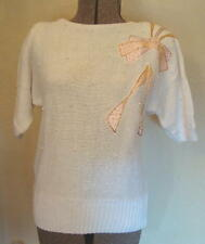 Ladies SWEATER shortsleeve white-pink dec  Bust38 MINT!