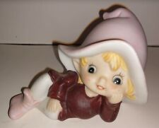 Ceramic Bisque Pixie Elf Figurine Homco 5213 Brown Pink Outfit Cute Fairy