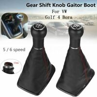 5/6 Speed Car Gear Shift Knob Gaitor Boot Cover Leather 23mm For VW Golf 4