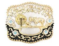 World Champion Cowboy Praying Cross w/ Horse Metal Belt Buckle