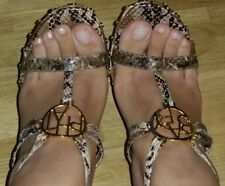 BABY Phat Brown Snake leather tacco alto pelle sandali oro borchie sandals us7