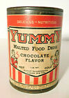 Vtg. Yummy Malted Milk Food Drink Chocolate Flavor Tin Can Scarce