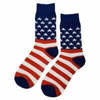 NWT American Flag Dress Socks Novelty Men 8-12 Red, White, Blue Fun Sockfly
