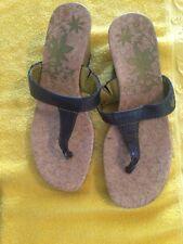 Timberlands Women's Wedge Cork Thong Floral Sandals Flip Flip Shoes 6