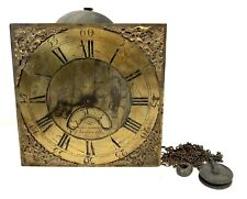 Antique Longcase Grandfather Clock Brass Dial & Movement GILES COATES CHEDWORTH
