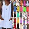 Women Sleeveless Plus Size Mini Dress Casual Party Tunic Vest Top Beach Sundress