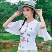 Ethnic Womens Embroidery Chinese Cheongsam Top Short Sleeve T-shirt Blouse Muk15