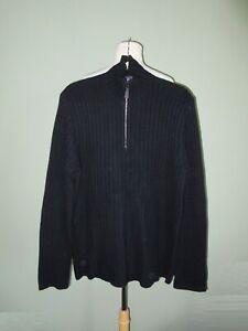 RALPH LAUREN PURPLE LABEL dark navy 100% cashmere ribbed 1/4 zip sweater M