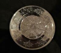 """Webb Corbett England Vtg Engraved Glass 7"""" Dessert Salad Plate Floral Sunflower"""