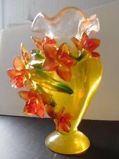 More details for art nouveau heavy uranium glass vase applied orchids polished base harrach?