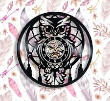 Owl dreamcatcher vinyl wall clock 12 inches best gift cute animal clock for dad