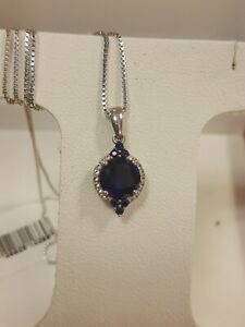 Sterling Silver Created Blue and White Sapphire Pendant $150