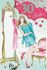 Sister 30th 30 Women Dress Design Happy Birthday Quality Card Lovely Verse