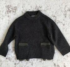 New Zara Baby Boy Olive Green Dark Navy Knit Mitten Sweater Jacket Sz 6-9M