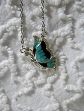 New Butterfly Rhinestone Charm On Sweater Silvertone Link Chain Necklace  N 295