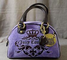 JUICY COUTURE Lilac Velour Bag Bowler Satchel Brass Royal Medallion Heart Charm