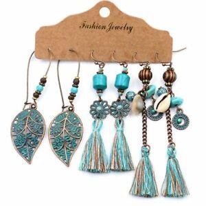 Boho Gypsy Earrings Tribal Ethnic Festival Ear Hook Drop Dangle Women Jewelry
