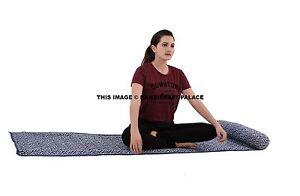 Yoga Mat Cotton Original Indian Hand Block Print Blue Yoga Mat Quilted Throw