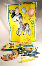 Vintage Built Rite No. 876 Donkey Party Game Set w/ Glue Stick Mask Tails Poster