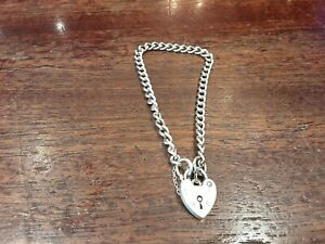 Silver Charm Bracelet with Safety Chain