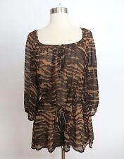 H&M size US 8 / EUR 38 tiger animal print sheer boho blouse top shirt career