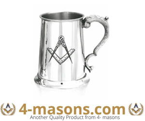 British Made Masonic  1 Pint pewter Tankard with the Square and Compasses Design