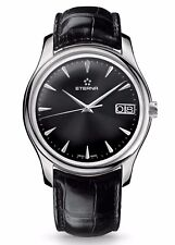 Eterna Vaughan 7630.41.50.1186 Swiss Automatic Watch Black Face Leather - NEW!