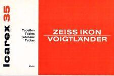 VOIGTLÄNDER - Zeiss Ikon - Icarex 35 - Tabellen - B3170