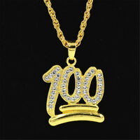 Punk Mens Gold Plated Emoji 100 Pendant Hip-Hop Rope Link Chain Necklace Jewelry