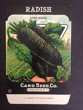 1930-40s Litho Antique Vintage Seed Packet Radish Black Card Seed Co Packs Ex