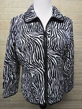 Requirements Size M Medium Zebra Print Black White Quilted Jacket - Cute!