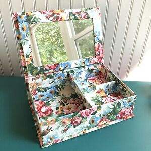 """Vintage Floral Fabric Covered Jewelry Box w/Mirror Country Cottagecore 12x8x4"""""""