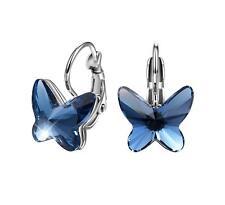 Pendientes Mariposa Plata Ley 925 Cristales Swarovski Azul Zafiro T400 Jewelers