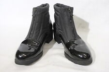 BOSTON ACCENT Black Fabric & Patent Ankle Boots,Water Proof,Front Zip,Sz 10M B31