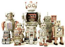 Juguete vintage retro magnífico robots Lona Calidad #417 Enmarcado Pared Arte Foto A1