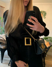 ZARA BLACK SATIN LOOSE FIT LONG SLEEVE SHIRT TOP BLOUSE 10 12 NEW WITH TAG